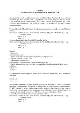 Zápisnica z 27.zasadnutia OZ, konaného dňa 24. septembra