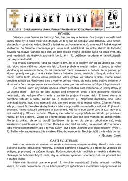 Farský list č.26 - Farnosť Povýšenia sv. Kríža, Prešov