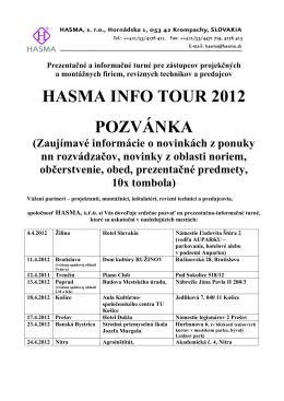 HASMA INFO TOUR 2012 POZVÁNKA