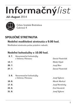 Informačnýlist Júl–August 2014