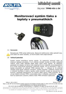 Monitorovací systém tlaku a teploty v pneumatikách