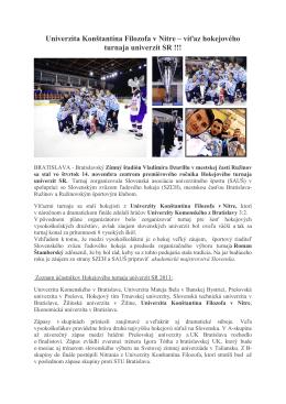 víťaz hokejového turnaja univerzít SR