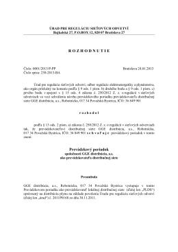 Prevádzkový poriadok: 0001/2013/P-PP (pdf)
