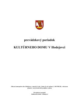 prevádzkový poriadok KULTÚRNEHO DOMU V
