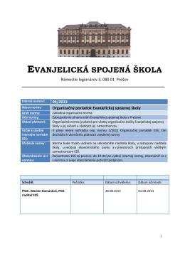 Organizačný poriadok Evanjelickej spojenej školy