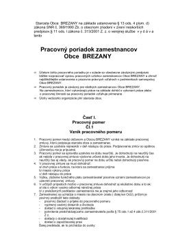 Pracovný poriadok Obce Brezany