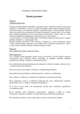 Školský poriadok 2012-2013