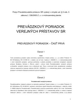 prevádzkový poriadok verejných prístavov sr