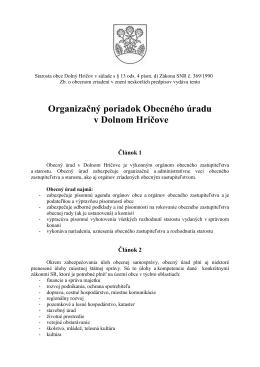 Organizačný poriadok obecného úradu v Dolnom Hričove 2014