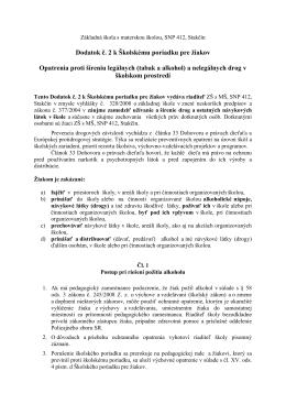Dodatok č. 2 k Školskému poriadku pre žiakov Opatrenia proti