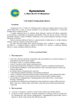 Vnútorný poriadok školy - Gymnázium, Ľ. Štúra 26, Michalovce