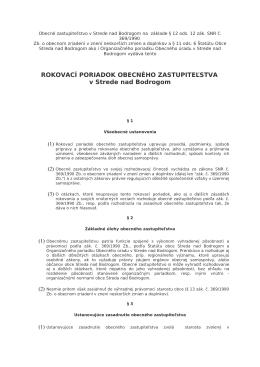 Rokovaci poriadok obecného zastupiteľstva