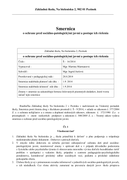 Smernica Š - 16/2014 o ochrane pred sociálno