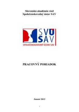 Pracovný poriadok - Spoločenskovedný ústav SAV