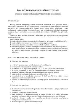 poriadok školského internátu platný od 1.7.2013