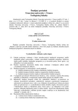 Študijný poriadok Teologickej fakulty zo dňa 1.7.2013