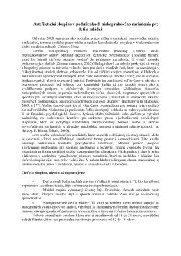 Artefiletická skupina v podmienkach nízkoprahového zariadenia pre