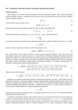 D11. Von Misesov materiálový model s izotropným spevňovaním