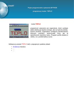 modul TEPLO programové vybavenie pre organizácie