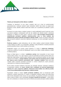 navrhy zmien noveho zakonu o mediacii 2014-1