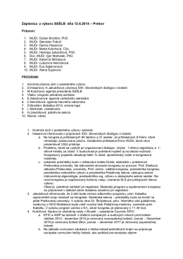 Zápisnica z výboru SSŠLB dňa 12.6.2014