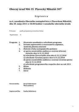 Obecný úrad 906 35 Plavecký Mikuláš 307 Z á pisnica zo 6
