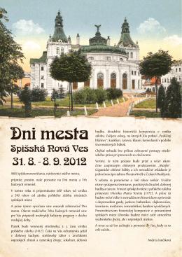 Dni Mesta Spišská Nová Ves 2012 / plagát (PDF)