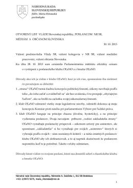 Otvorený List - JUDr. Mária RITOMSKÁ