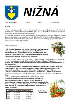 Obecné noviny Nižná, december 2010 (pdf)