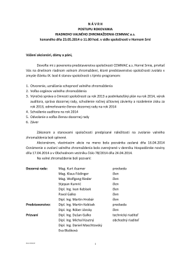 Návrh postupu rokovania Valného zhromaždenia