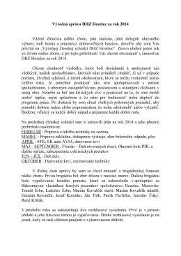 Výročná správa DHZ Hozelec za rok 2014 Vážení