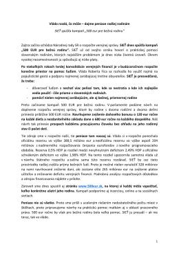 Tlačová správa: 500 eur pre bežnú rodinu