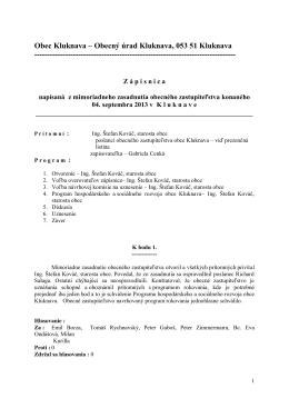 Zápisnica z mimoriadneho OZ - 04.09.2013