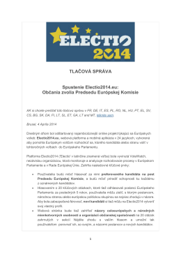 Občania zvolia Predsedu Európskej Komisie