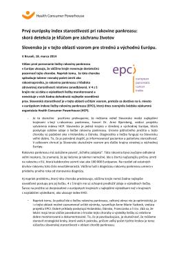 Prvý európsky index starostlivosti pri rakovine pankreasu