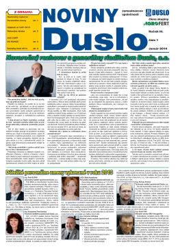 2014 číslo 1 - Noviny Duslo
