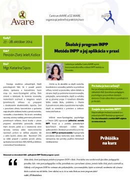 Školský program INPP Metóda INPP a jej aplikácia v praxi
