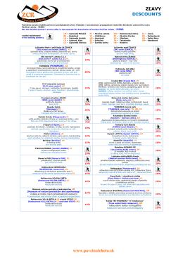 Aktuálny zoznam zliav pre klientov ubytovaných u