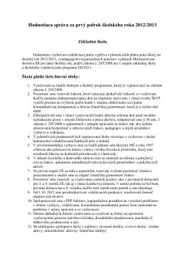 Hodnotiaca správa za prvý polrok školského roka 2012/2013