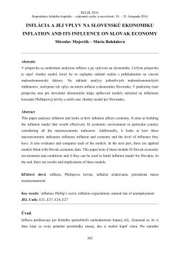 inflácia a jej vplyv na slovenskú ekonomiku inflation and its