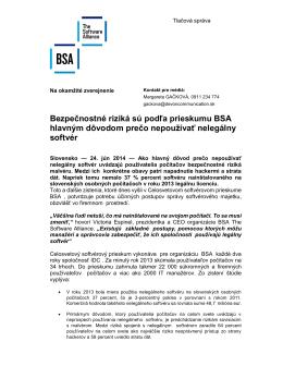 Bezpečnostné riziká sú podľa prieskumu BSA hlavným dôvodom