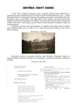 HISTÓRIA CHATY BASKE - KST Trenčianske Teplice