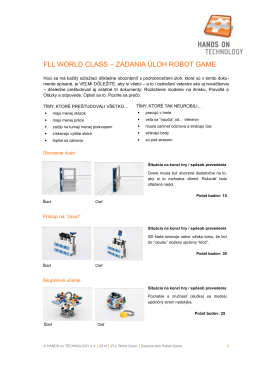 FLL WORLD CLASS – ZADANIA ÚLOH ROBOT GAME