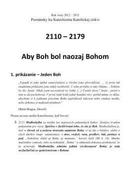 Body 2110 až 2179 - Aby bol Boh naozaj bohom