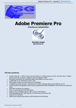 Adobe Premiere Pro - tutoriály