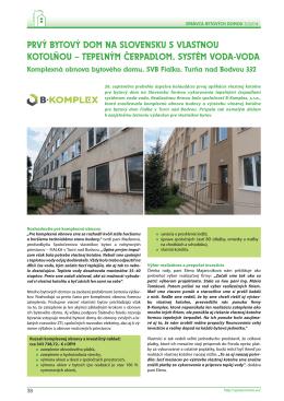 prvý bytový dom na slovensku s vlastnou kotolňou – tepelným