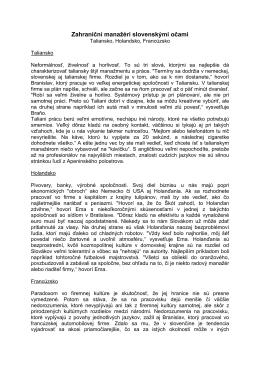 Zahraniční manažéri slovenskými očami --1