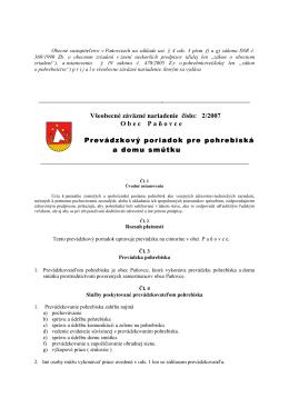 VZN 2/2007 Prevádzkový poriadok pohrebiska a