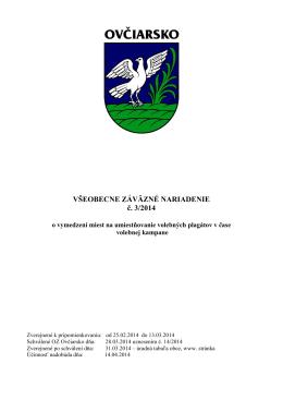 VZN č. 3-2014 o vymedzení miest na