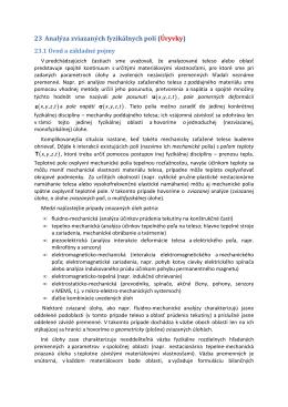 Kap.23 Analýza zviazaných fyzikálnych polí. Úvod a základné pojmy